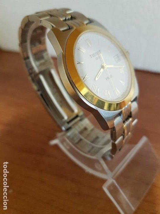 Relojes - Tissot: Reloj caballero TISSOT 1853 de acero bicolor con calendario, esfera blanca, correa original TISSOT - Foto 4 - 190998008
