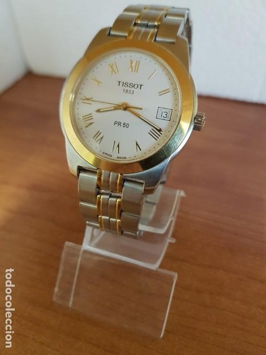 Relojes - Tissot: Reloj caballero TISSOT 1853 de acero bicolor con calendario, esfera blanca, correa original TISSOT - Foto 5 - 190998008
