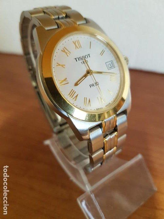 Relojes - Tissot: Reloj caballero TISSOT 1853 de acero bicolor con calendario, esfera blanca, correa original TISSOT - Foto 6 - 190998008
