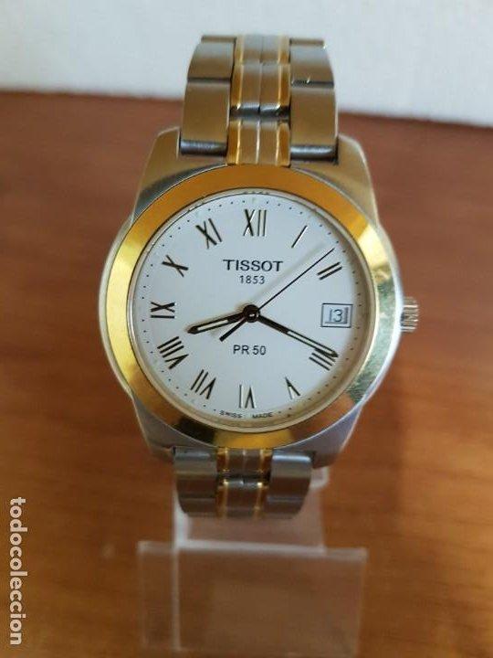 Relojes - Tissot: Reloj caballero TISSOT 1853 de acero bicolor con calendario, esfera blanca, correa original TISSOT - Foto 16 - 190998008