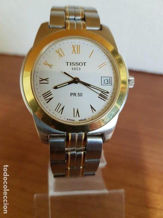 Relojes - Tissot: Reloj caballero TISSOT 1853 de acero bicolor con calendario, esfera blanca, correa original TISSOT - Foto 18 - 190998008