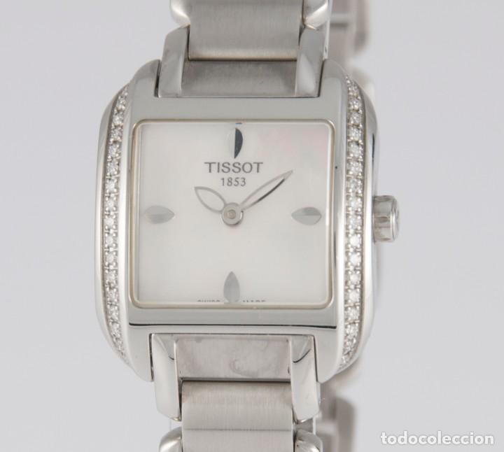 TISSOT T-WAVE LADIES STEEL AND DIAMONDS SQUARE MOP DIAL T02.1.385.82 NOS (NEW OLD STOCK) (Relojes - Relojes Actuales - Tissot)