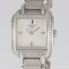 Relojes - Tissot: TISSOT T-WAVE LADIES STEEL AND DIAMONDS SQUARE MOP DIAL T02.1.385.82. Lote 217477193