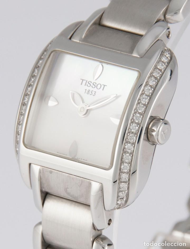 Relojes - Tissot: Tissot T-Wave Ladies Steel and Diamonds Square MOP Dial T02.1.385.82 NOS (New Old Stock) - Foto 6 - 217477193