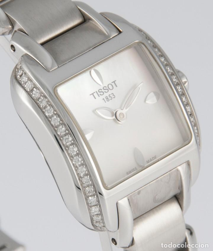 Relojes - Tissot: Tissot T-Wave Ladies Steel and Diamonds Square MOP Dial T02.1.385.82 NOS (New Old Stock) - Foto 9 - 217477193