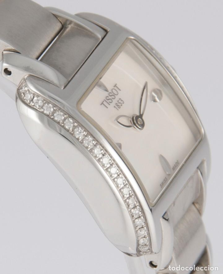 Relojes - Tissot: Tissot T-Wave Ladies Steel and Diamonds Square MOP Dial T02.1.385.82 NOS (New Old Stock) - Foto 10 - 217477193