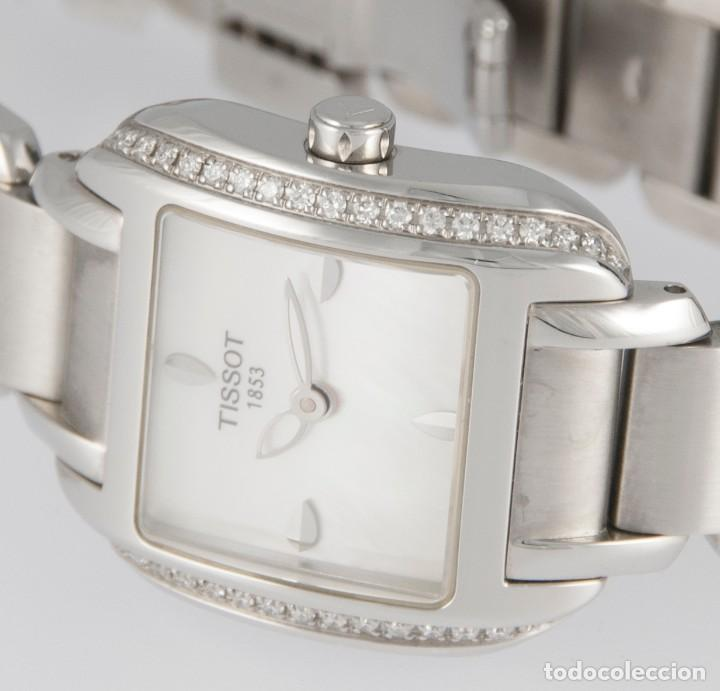 Relojes - Tissot: Tissot T-Wave Ladies Steel and Diamonds Square MOP Dial T02.1.385.82 NOS (New Old Stock) - Foto 12 - 217477193