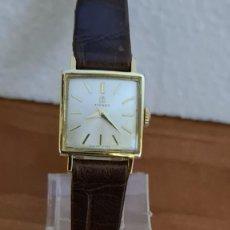 Relojes - Tissot: RELOJ SEÑORA TISSOT DE CUERDA MANUAL CHAPADO DE ORO 20 MICRAS, ESFERA BLANCA, CORREA DE CUERO MARRÓN. Lote 243353510