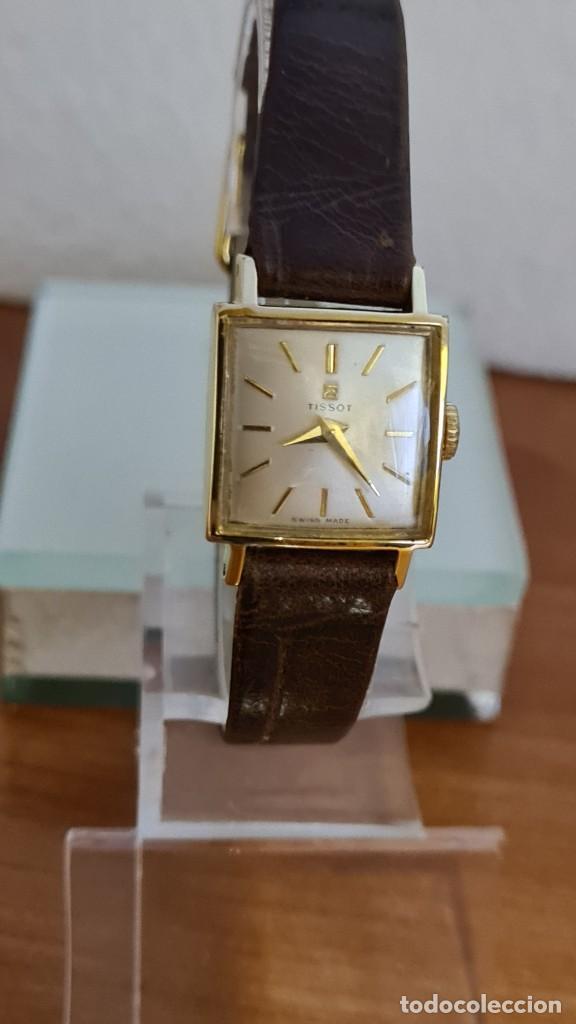 Relojes - Tissot: Reloj señora TISSOT de cuerda manual chapado de oro 20 micras, esfera blanca, correa de cuero marrón - Foto 3 - 243353510