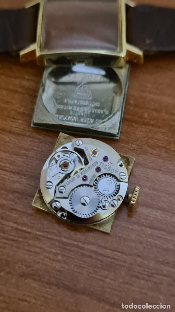 Relojes - Tissot: Reloj señora TISSOT de cuerda manual chapado de oro 20 micras, esfera blanca, correa de cuero marrón - Foto 8 - 243353510