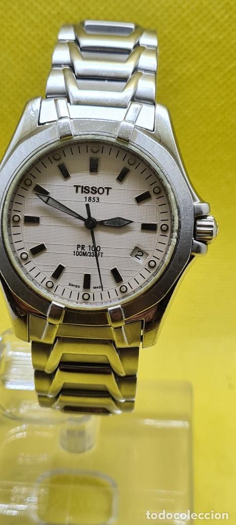 RELOJ CABALLERO (VINTAGE) TISSOT DE CUARZO SUIZO ACERO, CALENDARIO CUATRO, CORREA DE ACERO ORIGINAL (Relojes - Relojes Actuales - Tissot)
