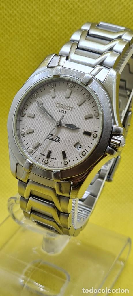 Relojes - Tissot: Reloj caballero (Vintage) Tissot de cuarzo Suizo acero, calendario cuatro, correa de acero original - Foto 2 - 248448225