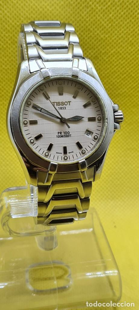 Relojes - Tissot: Reloj caballero (Vintage) Tissot de cuarzo Suizo acero, calendario cuatro, correa de acero original - Foto 3 - 248448225