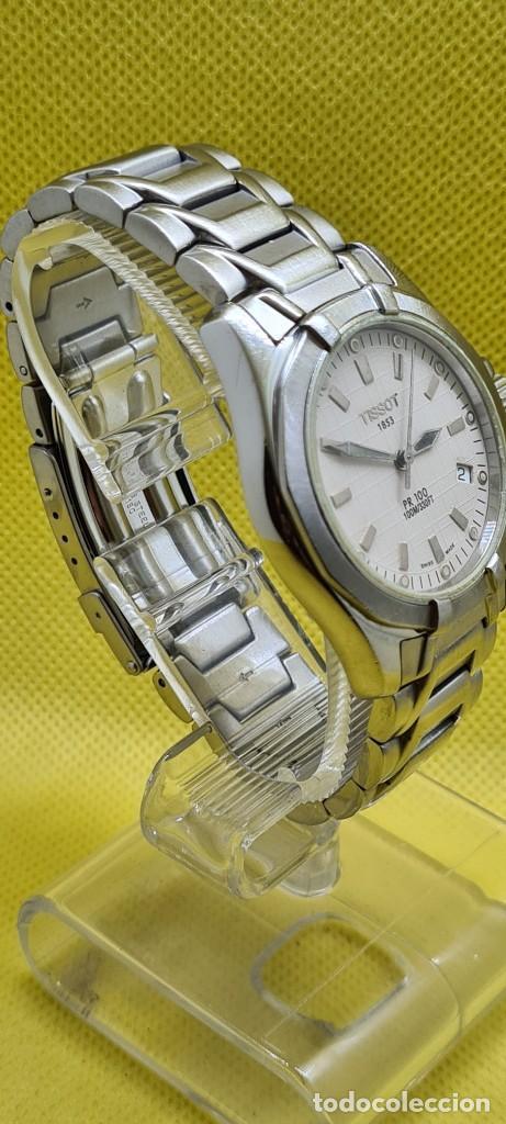Relojes - Tissot: Reloj caballero (Vintage) Tissot de cuarzo Suizo acero, calendario cuatro, correa de acero original - Foto 7 - 248448225
