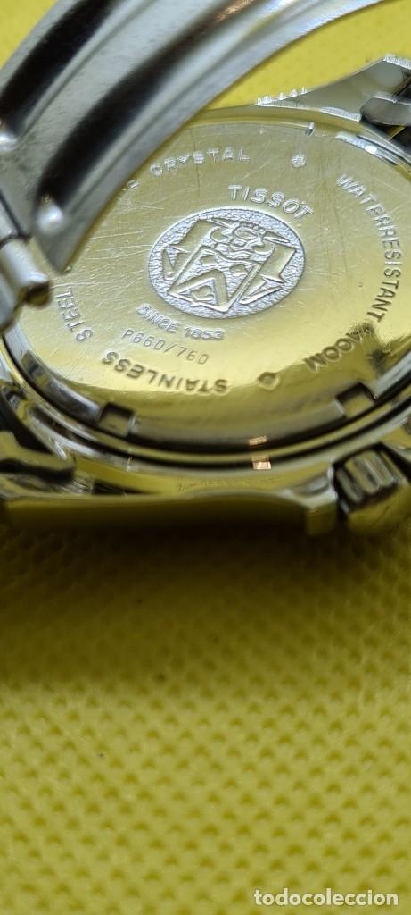 Relojes - Tissot: Reloj caballero (Vintage) Tissot de cuarzo Suizo acero, calendario cuatro, correa de acero original - Foto 14 - 248448225
