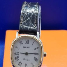 Relojes - Tissot: RELOJ SEÑORA TISSOT BOUTIQUE CUARZO CHAPADO DE ORO, ESFERA BLANCA, CORREA CUERO MARRÓN NUEVA SIN USO. Lote 248618635