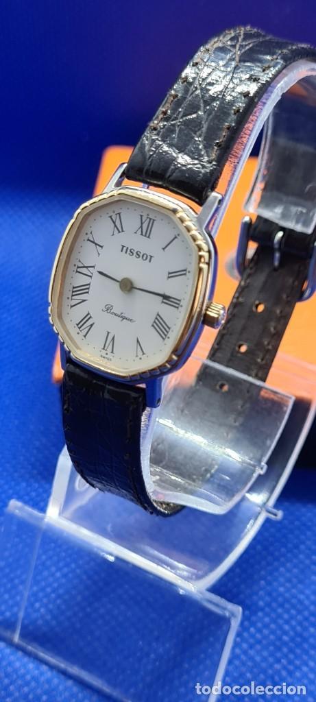 Relojes - Tissot: Reloj señora Tissot Boutique cuarzo chapado de oro, esfera blanca, correa cuero marrón nueva sin uso - Foto 2 - 248618635
