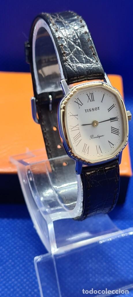 Relojes - Tissot: Reloj señora Tissot Boutique cuarzo chapado de oro, esfera blanca, correa cuero marrón nueva sin uso - Foto 3 - 248618635