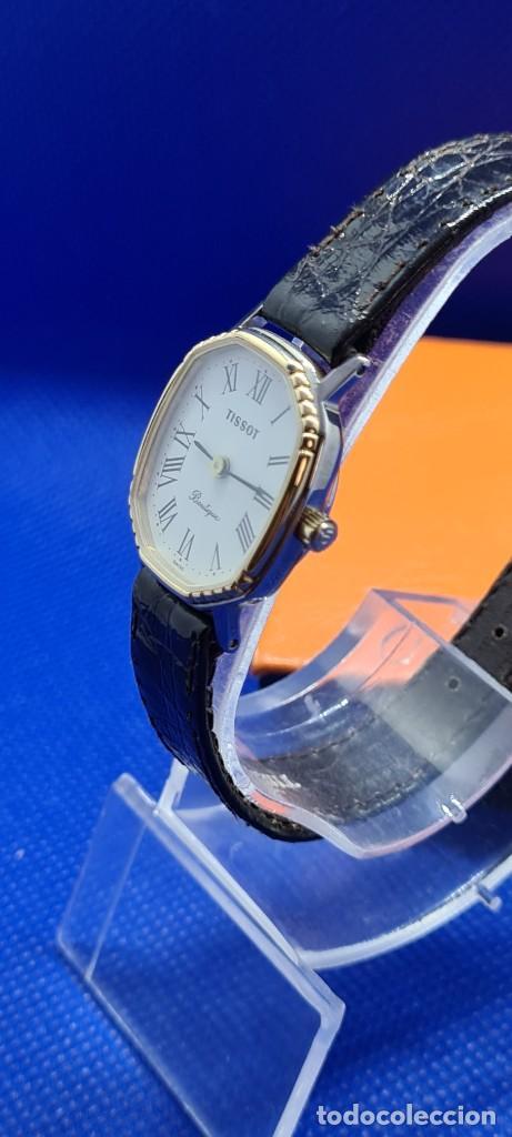 Relojes - Tissot: Reloj señora Tissot Boutique cuarzo chapado de oro, esfera blanca, correa cuero marrón nueva sin uso - Foto 5 - 248618635