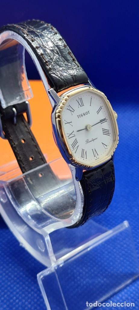 Relojes - Tissot: Reloj señora Tissot Boutique cuarzo chapado de oro, esfera blanca, correa cuero marrón nueva sin uso - Foto 6 - 248618635
