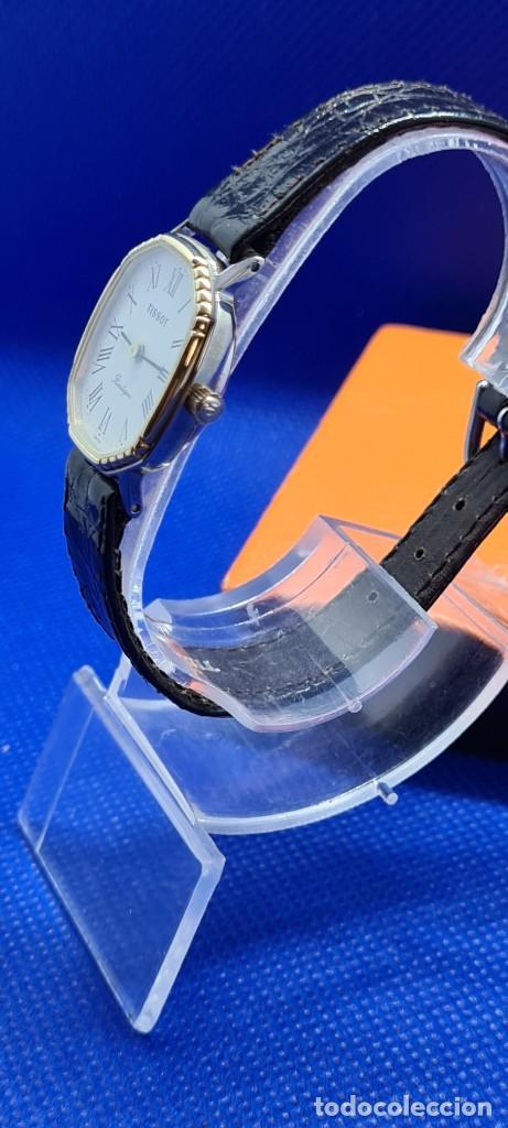 Relojes - Tissot: Reloj señora Tissot Boutique cuarzo chapado de oro, esfera blanca, correa cuero marrón nueva sin uso - Foto 7 - 248618635