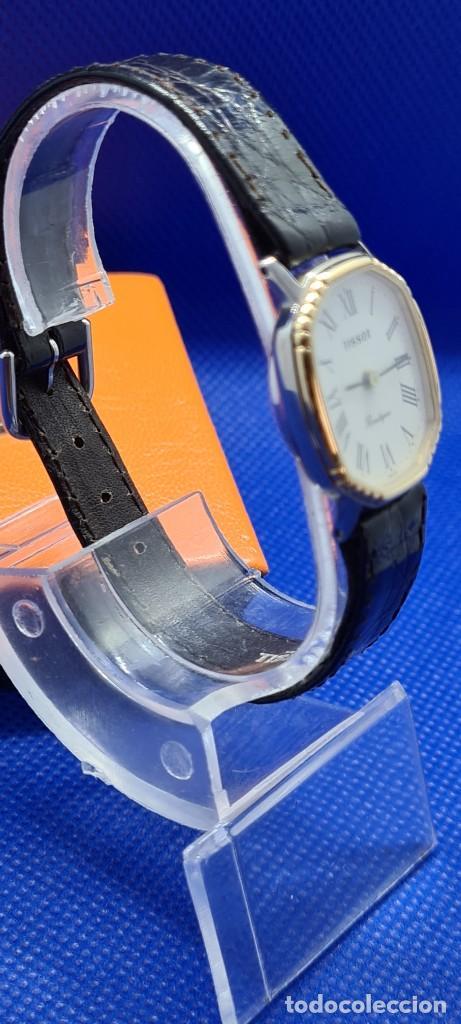 Relojes - Tissot: Reloj señora Tissot Boutique cuarzo chapado de oro, esfera blanca, correa cuero marrón nueva sin uso - Foto 8 - 248618635