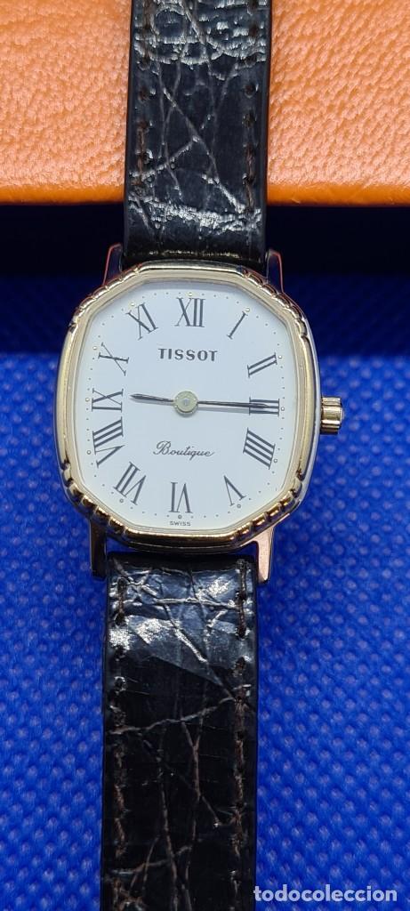 Relojes - Tissot: Reloj señora Tissot Boutique cuarzo chapado de oro, esfera blanca, correa cuero marrón nueva sin uso - Foto 12 - 248618635