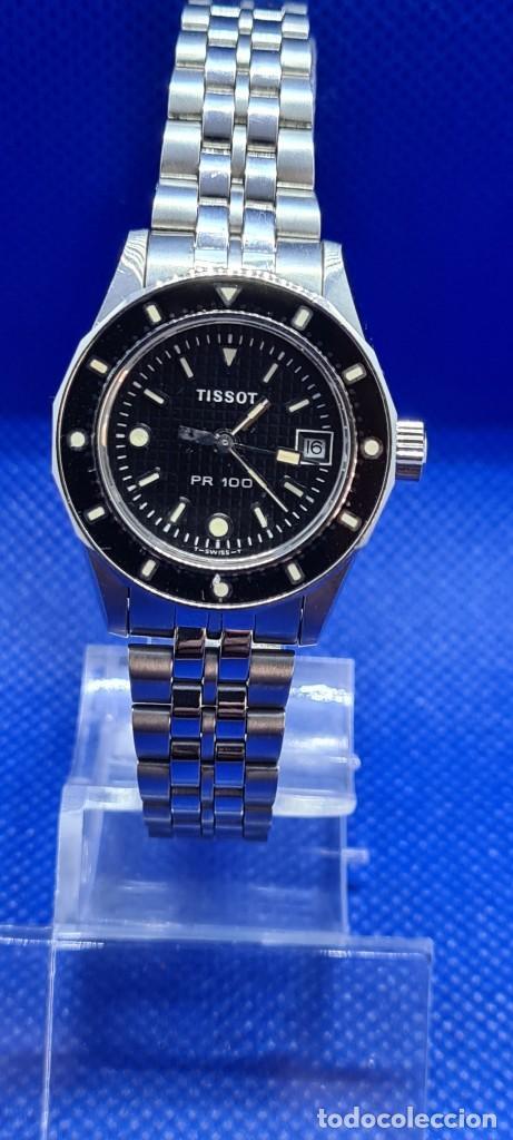 RELOJ SEÑORA TISSOT PR100 CUARZO ACERO, BISEL GIRATORIO, ESFERA NEGRA, CORREA ACERO ORIGINAL TISSOT. (Relojes - Relojes Actuales - Tissot)