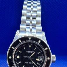 Relojes - Tissot: RELOJ SEÑORA TISSOT PR100 CUARZO ACERO, BISEL GIRATORIO, ESFERA NEGRA, CORREA ACERO ORIGINAL TISSOT.. Lote 248684570
