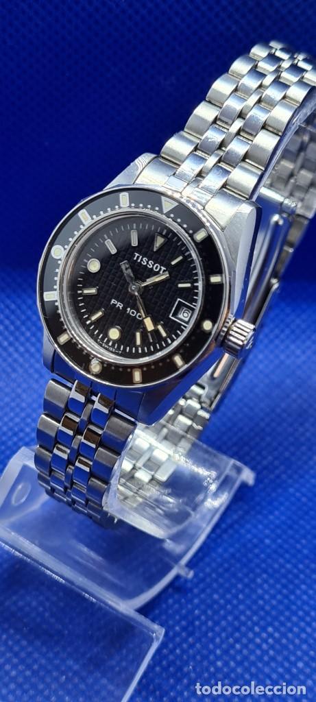 Relojes - Tissot: Reloj señora Tissot PR100 cuarzo acero, bisel giratorio, esfera negra, correa acero original Tissot. - Foto 2 - 248684570
