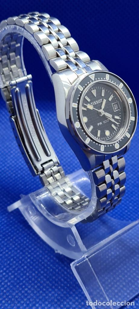 Relojes - Tissot: Reloj señora Tissot PR100 cuarzo acero, bisel giratorio, esfera negra, correa acero original Tissot. - Foto 3 - 248684570
