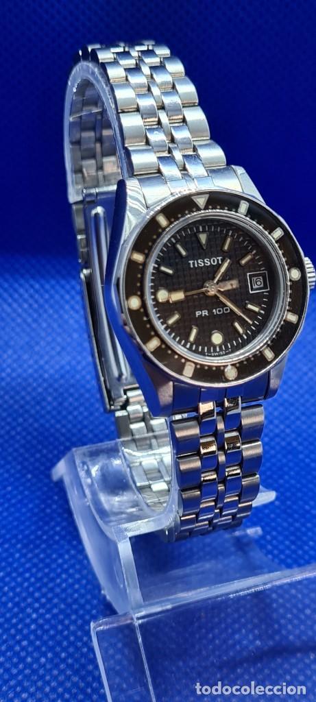 Relojes - Tissot: Reloj señora Tissot PR100 cuarzo acero, bisel giratorio, esfera negra, correa acero original Tissot. - Foto 8 - 248684570
