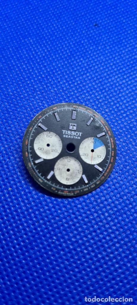 ESFERA PARA RELOJ TISSOT SEASTAR CHRONOGRAPH LEMANIA 1281 ESFERA NEGRA 1965, FECHA FABRICACIÓN 1960 (Relojes - Relojes Actuales - Tissot)