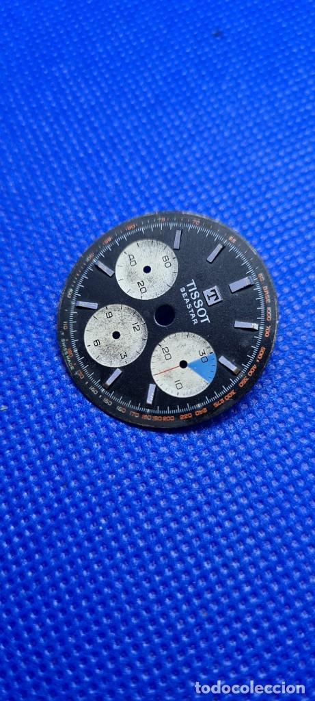 Relojes - Tissot: Esfera para reloj TISSOT Seastar Chronograph Lemania 1281 esfera negra 1965, fecha fabricación 1960 - Foto 2 - 249129465