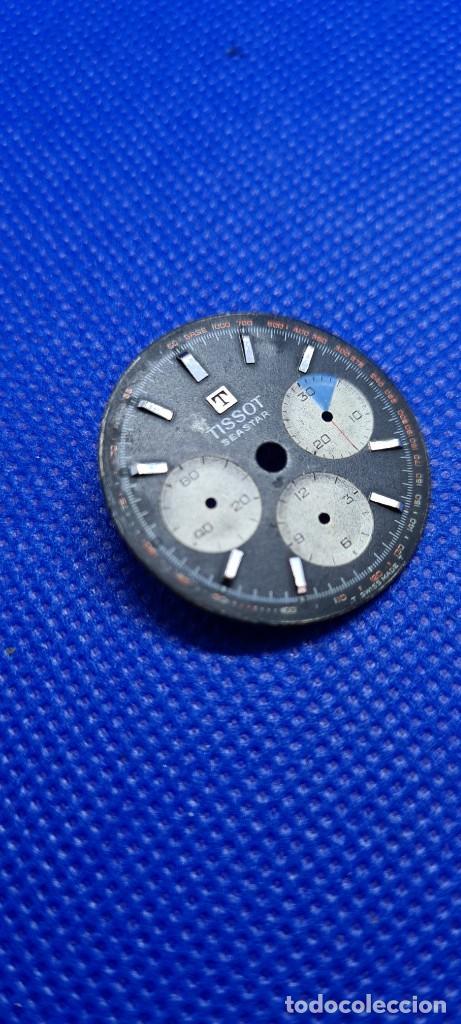 Relojes - Tissot: Esfera para reloj TISSOT Seastar Chronograph Lemania 1281 esfera negra 1965, fecha fabricación 1960 - Foto 3 - 249129465