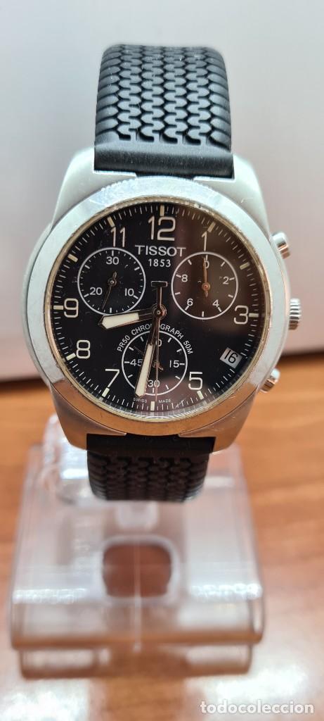 RELOJ CABALLERO (VINTAGE) TISSOT DE CUARZO SUIZO ACERO, CALENDARIO CUATRO, CORREA DE GOMA NEGRA NUEV (Relojes - Relojes Actuales - Tissot)