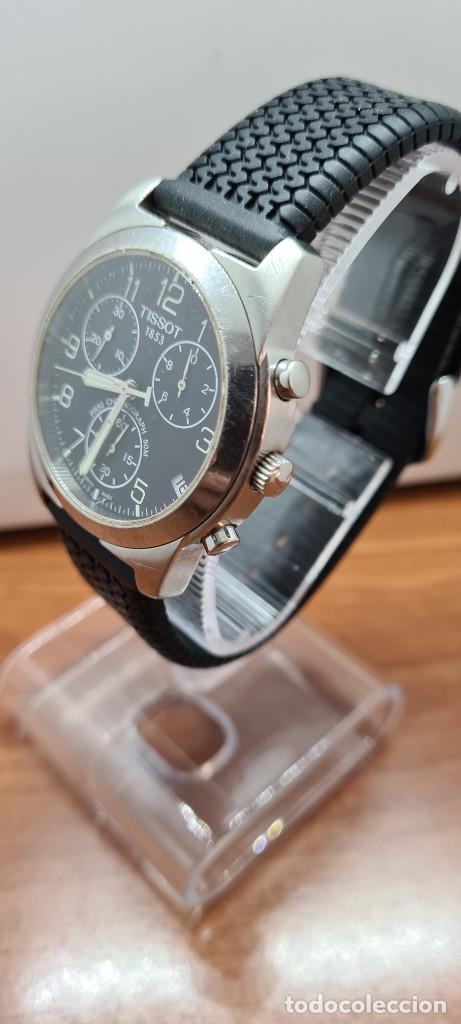 Relojes - Tissot: Reloj caballero (Vintage) Tissot de cuarzo Suizo acero, calendario cuatro, correa de goma negra nuev - Foto 4 - 253889025