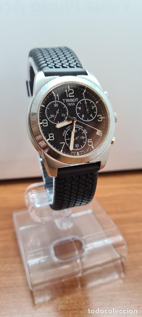 Relojes - Tissot: Reloj caballero (Vintage) Tissot de cuarzo Suizo acero, calendario cuatro, correa de goma negra nuev - Foto 5 - 253889025