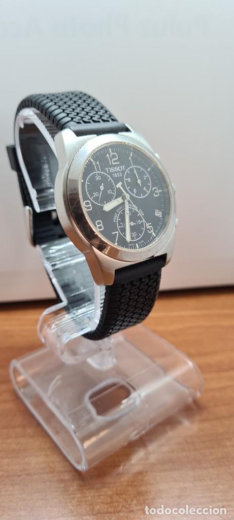 Relojes - Tissot: Reloj caballero (Vintage) Tissot de cuarzo Suizo acero, calendario cuatro, correa de goma negra nuev - Foto 7 - 253889025