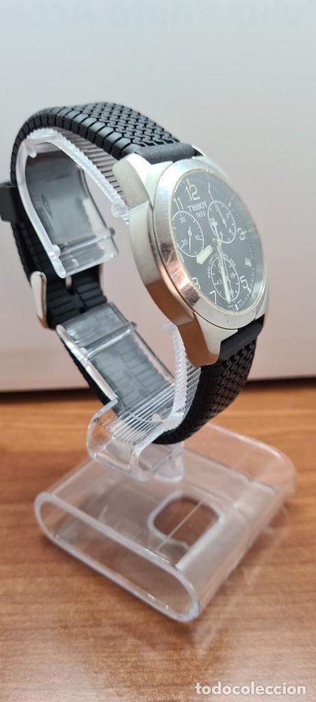 Relojes - Tissot: Reloj caballero (Vintage) Tissot de cuarzo Suizo acero, calendario cuatro, correa de goma negra nuev - Foto 9 - 253889025