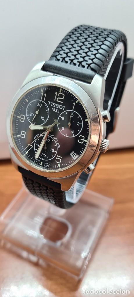 Relojes - Tissot: Reloj caballero (Vintage) Tissot de cuarzo Suizo acero, calendario cuatro, correa de goma negra nuev - Foto 11 - 253889025