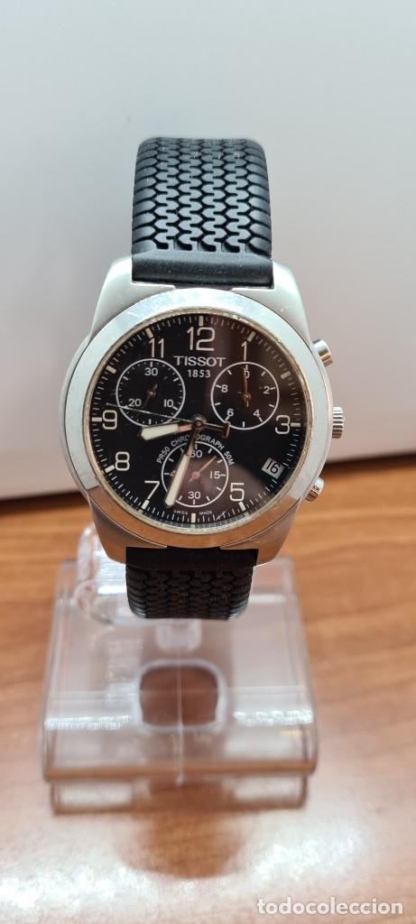 Relojes - Tissot: Reloj caballero (Vintage) Tissot de cuarzo Suizo acero, calendario cuatro, correa de goma negra nuev - Foto 12 - 253889025