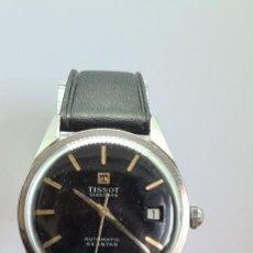 Relojes - Tissot: RELOJ (VINTAGE) TISSOT AUTOMÁTICO ACERO, ESFERA NEGRA CON CALENDARIO A LAS TRES HORAS, CORREA CUERO.. Lote 280278103