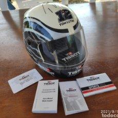 Relojes - Tissot: PIEZA ÚNICA CAJA CASCO TISSOT T-RACE 2012 FIRMADO AUTOGRAFO ORIGINAL THOMAS TOM LUTHI MOTO GP. Lote 288004468