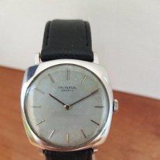 Relojes - Universal: RELOJ DE CABALLERO (VINTAGE) UNIVERSAL DE CUERDA CON CORREA DE CUERO NEGRA SIN USO, CRISTAL SIN RAYA. Lote 85406840