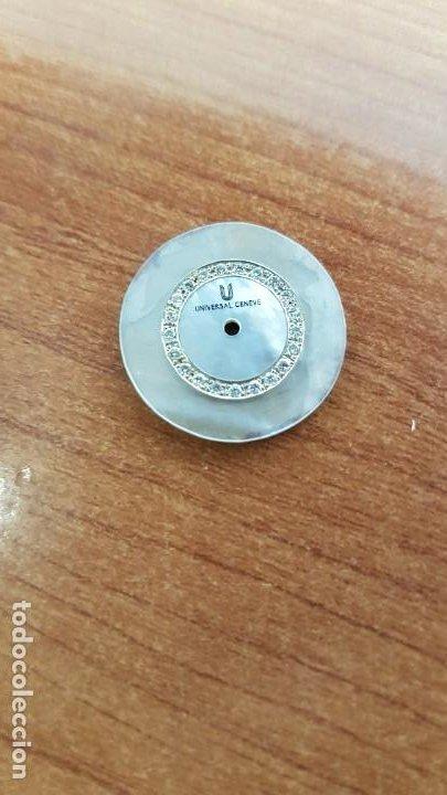 UNA ESFERA PARA RELOJ MARCA UNIVERSAL DE NÁCAR BLANCA CON 21 BRILLANTES, EN MUY BUEN ESTADO (Relojes - Relojes Actuales - Universal)