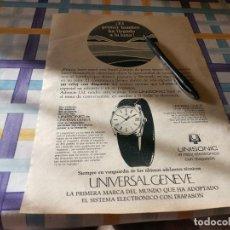 Relojes - Universal: RELOJ UNIVERSAL GENEVE UNISONIC ANUNCIO PUBLICIDAD REVISTA 1969 POSIBLE RECOGIDA EN MALLORCA. Lote 213183561