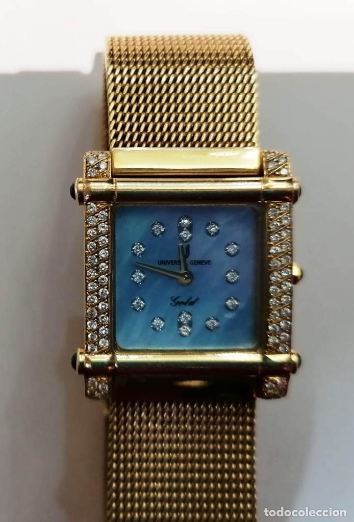 PRECIOSO RELOJ DE ORO 18KT UNIVERSAL GENEVE CON BRILLANTES Y ZAFIROS - 69,20GRS (Relojes - Relojes Actuales - Universal)