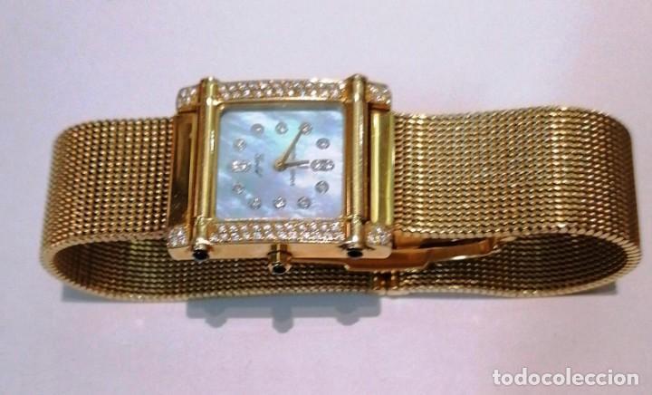 Relojes - Universal: precioso reloj de oro 18kt Universal Geneve con brillantes y zafiros - 69,20grs - Foto 4 - 222330532