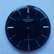 Relojes - Universal: ESFERA UNIVERSAL GENEVE NEGRA ORIGINAL SIN RESTAURAR PARA RELOJ MECANICO 28.5 MM. Lote 235689525